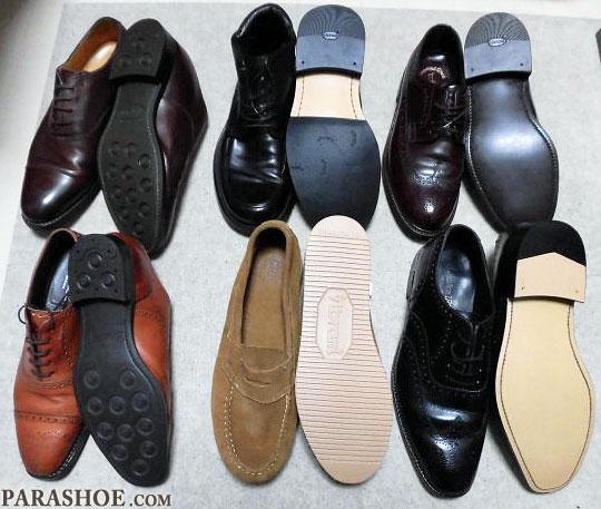 ソール交換した紳士靴6足。レザーソール、ビブラムソールなど