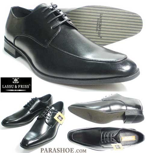 27.5cm、28cm、28.5cm、29cm、30cm のビジネスシューズ/LASSU&FRISS ロングノーズ Uチップ 紳士靴 黒 3E