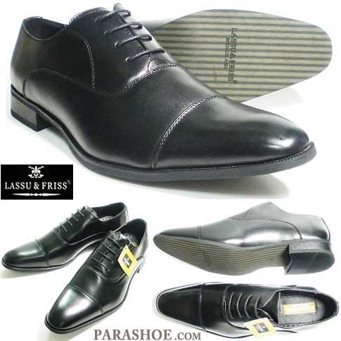 27.5cm、28cm、28.5cm、29cm、30cm のビジネスシューズ/LASSU&FRISS ストレートチップ(内羽根)紳士靴 黒 3E