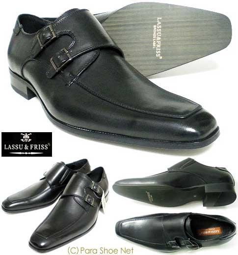 LASSU&FRISSダブルモンクストラップ ビジネスシューズ 革靴 黒 27.5cm 28cm 29cm 30cm