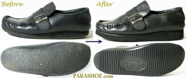 クラークス(Clarks)紳士靴、ソール交換修理前と修理後