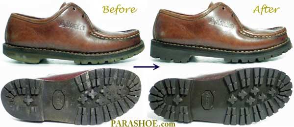 ドロミテ(Dolomite)のチロリアン革靴、ソール交換修理前と修理後