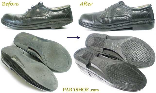 フィンコンフォート(Finn Comfort)革靴、ソール交換修理前と修理後