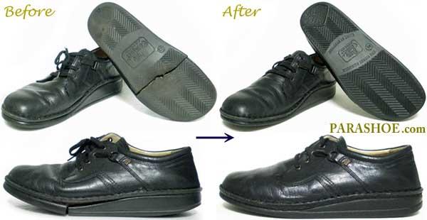 フィンコンフォートの紳士革靴、ソール交換修理前と修理後