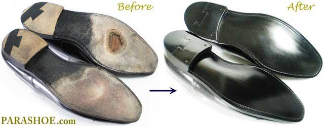 グレンソン(GRENSON)の革靴、ソール交換修理前と修理後