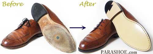 ジョンストン&マーフィー革靴のソール交換前と修理後