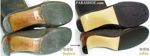 ロングブーツ(レディース婦人靴)革底レザーソール交換修理前と修理後
