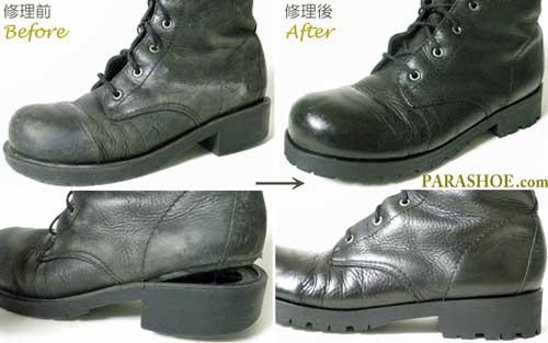 レディースブーツ(婦人靴)ウェルト交換、ソール交換、革クリーンング修理前と修理後
