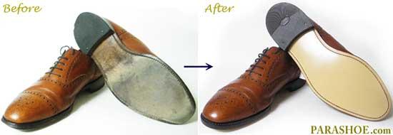 LOAKE(ローク)の紳士革靴、ソール交換修理前と修理後