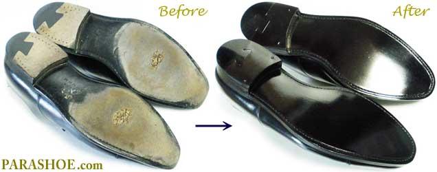 リーガル(REGAL)革靴、ソール交換修理前と修理後