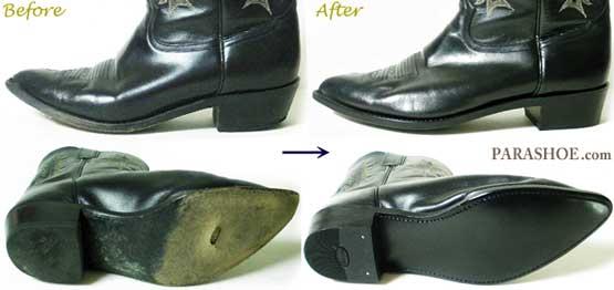トニーラマ(Tony Lama)ウエスタンブーツ 、ソール交換修理前と修理後