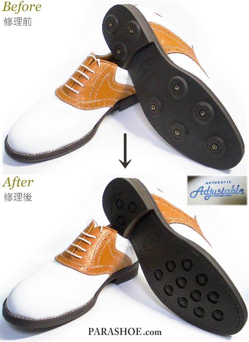 アジャスタブル(Adjustable)ゴルフシューズを通常の紳士靴へソール交換(変更)修理前と修理後/ビブラム(Vibram)2055 ダークブラウン