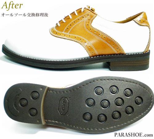 アジャスタブル(Adjustable)ゴルフシューズを通常の紳士靴へソール交換(変更)修理後/ビブラム(Vibram)2055 ダークブラウン