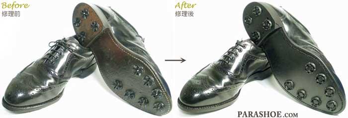 フットジョイ(Footjoy)ゴルフシューズのオールソール交換修理(靴底張替え修繕リペア)修理前と修理後/ラバーソール+ソフトスパイク(ミリ)