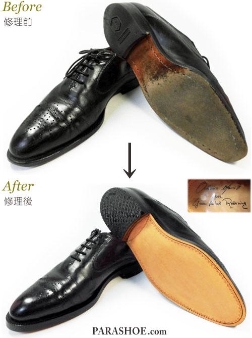イタリア製ドレスシューズ(革靴・ビジネスシューズ・紳士靴)オールソール交換修理(靴底張替補修リペア)/レザーソール(革底)・マッケイ製法からブラックラピド製法へ修理前と修理後