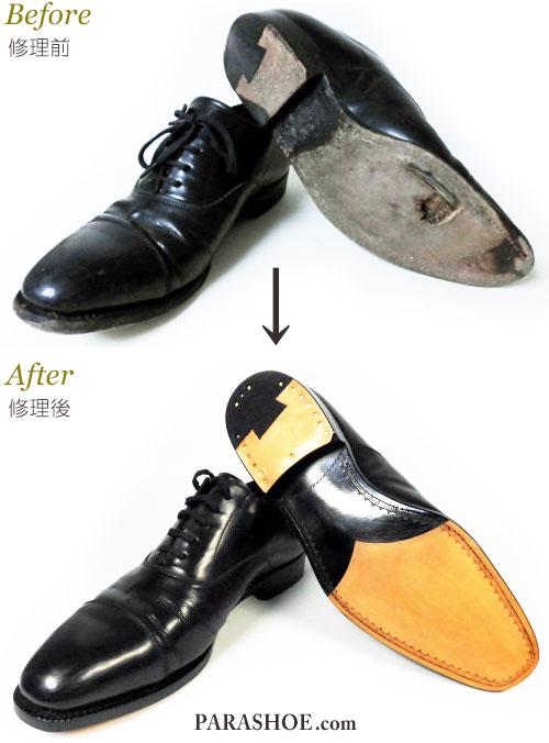 PARASHOE(パラシュー)ストレートチップドレスシューズ(ビジネスシューズ・革靴・紳士靴)のオールソール交換修理(靴底張替え修繕リペア)修理前と修理後/レザーソール(革底)+革積み上げヒール+半革リフト+半カラス仕上げ