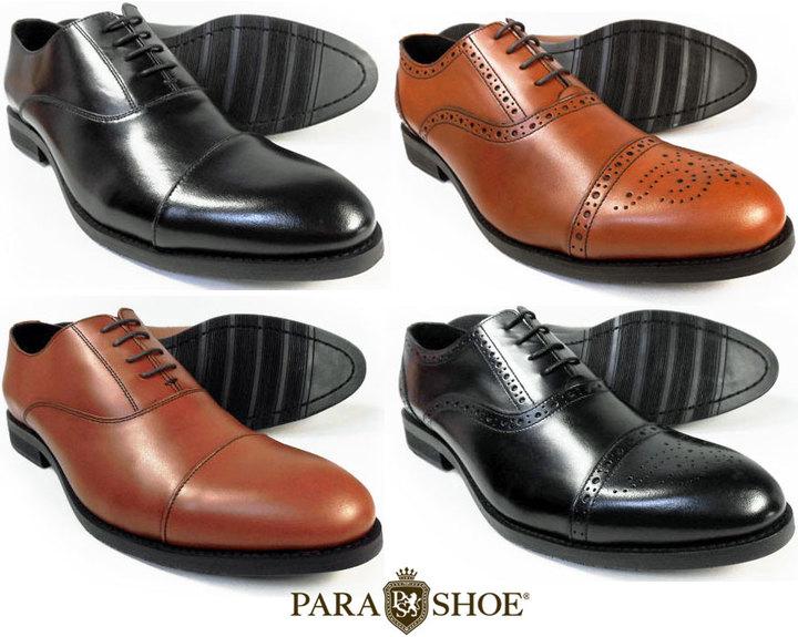 PARASHOE(パラシュー)本革製マッケイ製法ビジネスシューズ、内羽根ストレートチップ、セミブローグ