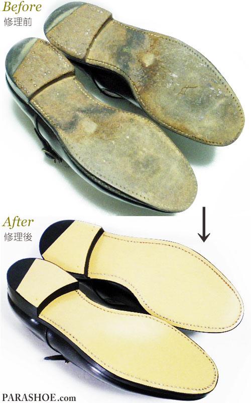 グレンソン(GRENSON)ドレスシューズ(革靴・ビジネスシューズ・紳士靴)オールソール交換修理(靴底張り替え修繕リペア)前と修理後/レザーソール(革底)