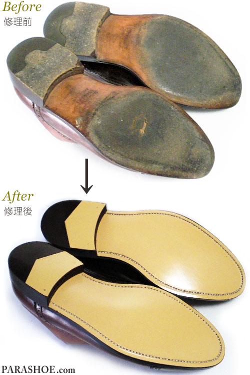 エルメネジルド ゼニア(Ermenegildo Zegna) ドレスシューズ(革靴・ビジネスシューズ・紳士靴)オールソール交換修理(靴底張り替え修繕リペア)/レザーソール(革底)修理前と修理後
