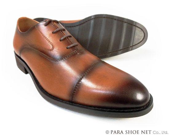PARASHOE 本革 内羽根ストレートチップ(キャップトゥ) ビジネスシューズ 茶色(ブラウン)ワイズ(足幅)3E(EEE)22cm(22.0cm)、22.5cm、23cm(23.0cm)、23.5cm、24cm(24.0cm) 【小さいサイズ(スモールサイズ)革靴・紳士靴】