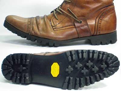 紳士ブーツ(カジュアルシューズ)オールソール交換修理(靴底張替えリペア)/ビブラム(Vibram 1136-黒)修理後