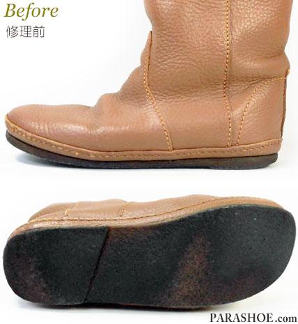 KOOS(コース)レディースブーツ(婦人靴)オールソール交換修理(靴底張替えリペア)/天然ゴムクレープソール(生ゴム)修理前