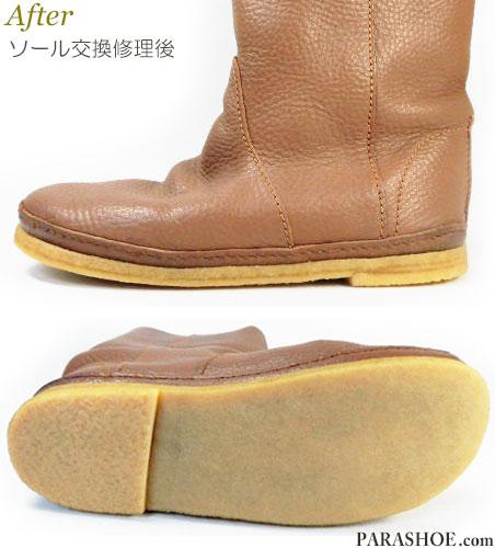 KOOS(コース)レディースブーツ(婦人靴)オールソール交換修理(靴底張替えリペア)/天然ゴムクレープソール(生ゴム)修理後