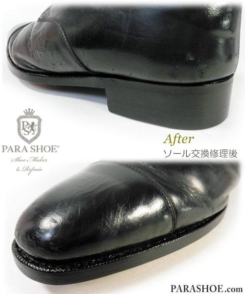 PARASHOE(パラシュー)ストレートチップ ドレスシューズ (革靴・紳士靴・ビジネスシューズ)オールソール交換修理(靴底張替えリペア)/レザーソール(JRソール)+半カラス仕上げ 修理後のヒールとウェルト部