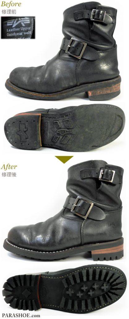 アルファ インダストリーズ(ALPHA INDUSTRIES)エンジニアブーツのオールソール交換修理(靴底張替え修繕リペア)/コマンドソール+革積み上げヒール 修理前と修理後