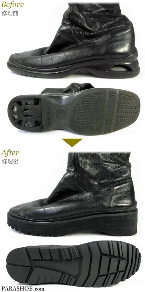 コールハーン(Cole Haan)×NIKE AIR(ナイキエアー)レディースブーツ オールソール交換修理(靴底張替えリペア)/厚底ラバーソール 修理前と修理後