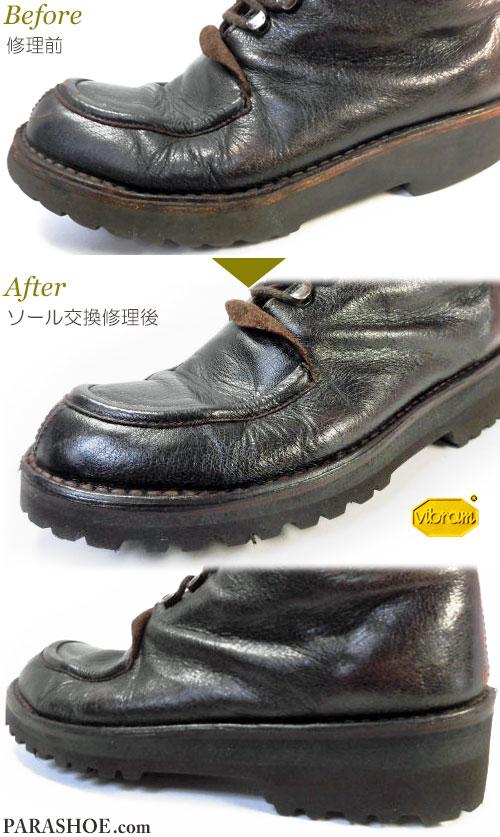 オリエンタル・ヴォヤージ(ORIENTAL VOYAGE)・ブッテロ(BUTTERO)ブーツのオールソール交換修理(靴底貼り替え修繕リペア)/ビブラム(Vibram)8303(黒)厚底仕様-ステッチダウン製法 修理前と修理後のつま先とヒール(かかと)