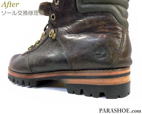 ティンバーランド(Timberland)ブーツのオールソール交換修理(靴底貼り替え修繕リペア)/ビブラム(Vibram)1100(黒)+レザーミッドソール+革積み上げヒール-マッケイ製法 修理後のヒール部分