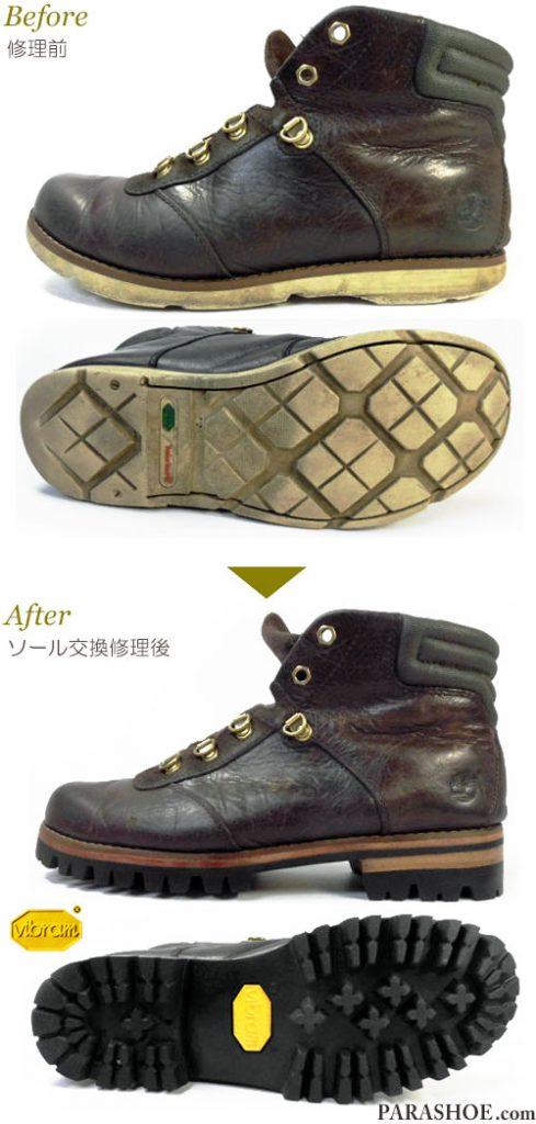ティンバーランド(Timberland)ブーツのオールソール交換修理(靴底貼り替え修繕リペア)/ビブラム(Vibram)1100(黒)+レザーミッドソール+革積み上げヒール-マッケイ製法+スベリ補修 修理前と修理後