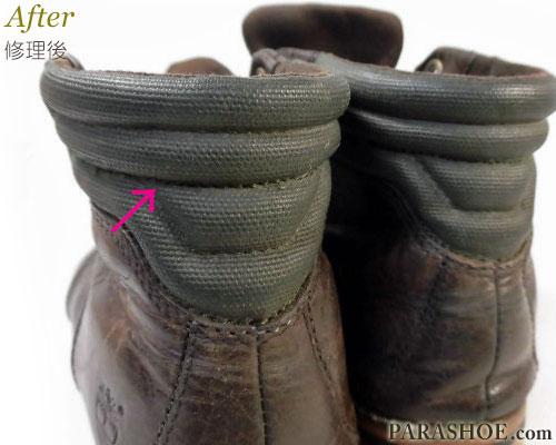 ブーツのスベリ(かかと裏革)補修後のステッチ部分