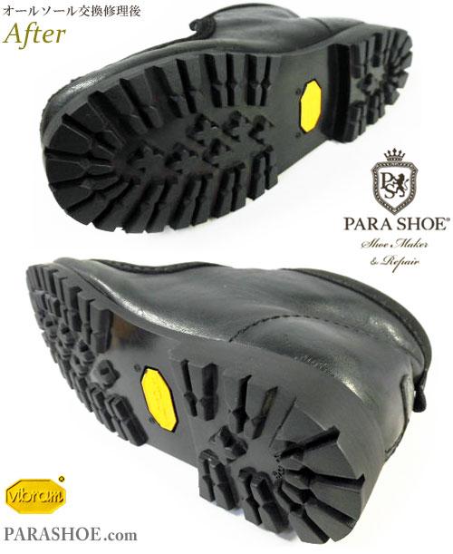 クラークス(CLARKS)ワラビーブーツ(メンズ)のオールソール交換修理(靴底張替え修繕リペア)/クレープソールからビブラム(Vibram)1136(黒)へ変更-マッケイ製法 修理後のソール底面とヒール(かかと)