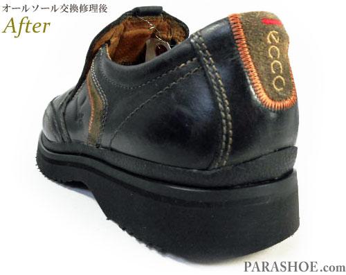 エコー(ecco)カジュアルスリッポンシューズ(革靴・紳士靴)のオールソール交換修理(靴底張替え修繕リペア)/ビブラム2668(黒)修理後のかかとヒール部分