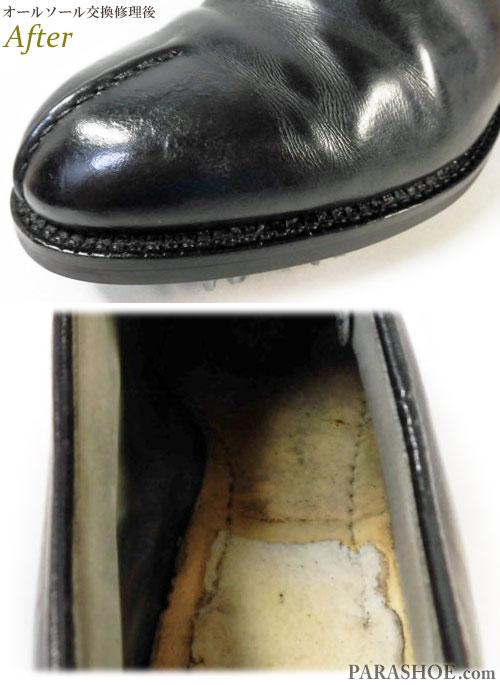 フットジョイ(FootJoy)ゴルフシューズ オールソール交換修理(靴底張替え修繕リペア)/ラバーソール(黒)+ソフトスパイク鋲(ミリサイズ)-グッドイヤーウェルト製法 修理後のウェルト出し縫いと、中底のマッケイ縫い(アンズ縫い)