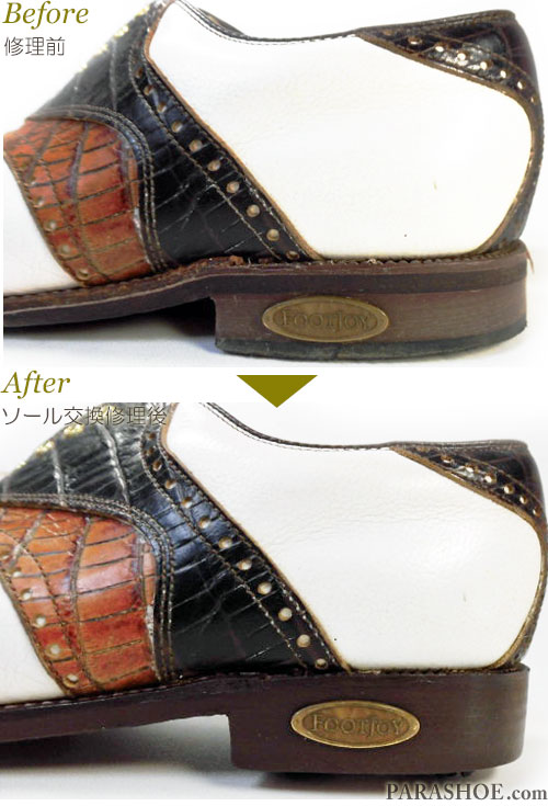 フットジョイ(FootJoy)クラシックスドライ(Classics Dry)ゴルフシューズ オールソール交換修理(靴底貼り替え修繕リペア)/レザーソール(革底)+ソフトスパイク鋲(ミリサイズ)-グッドイヤーウェルト製法 修理後のヒール「Footjoy」ロゴプレート再取り付け