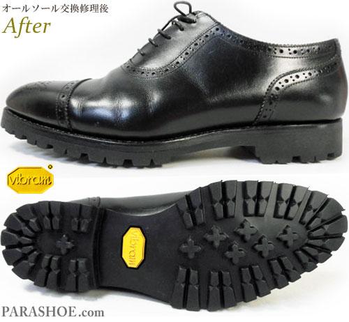 レイマー(RAYMAR)セミブローグドレスシューズ(革靴・ビジネスシューズ・紳士靴)のオールソール交換修理(靴底張替え修繕リペア)/ビブラム(vibram)1136(黒)修理後
