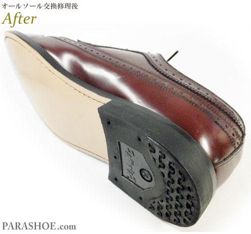 リーガル(REGAL)JR04 ウィングチップ ドレスシューズ(革靴・ビジネスシューズ・紳士靴)のオールソール交換修理(靴底張替え修繕リペア)/ラバーソールからレザーソール(革底)へ変更修理 修理後のヒール部