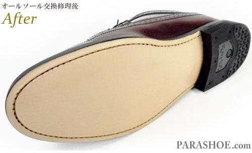 リーガル(REGAL)JR04 ウィングチップ ドレスシューズ(革靴・ビジネスシューズ・紳士靴)のオールソール交換修理(靴底張替え修繕リペア)/ラバーソールからレザーソール(革底)へ変更修理 修理後の底面