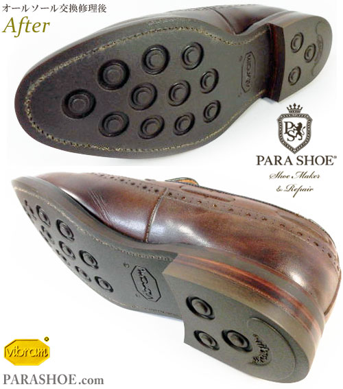 リーガル(REGAL)W143 ウィングタッセルローファー ドレスシューズ(革靴・ビジネスシューズ・紳士靴)のオールソール交換修理(靴底張替え修繕リペア)/ビブラム(Vibram)2055(イートンソール・ダークブラウン)+革積み上げヒール-グッドイヤーウェルト製法 修理後のソール底面とヒール(かかと)