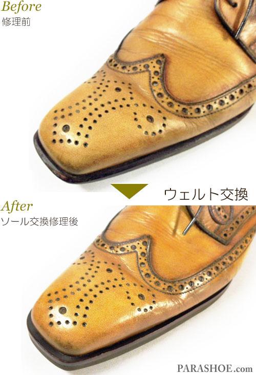 リーガル(REGAL)104R イタリア製 ウィングチップ ドレスシューズ(革靴・ビジネスシューズ・紳士靴)のオールソール交換修理(靴底張替え修繕リペア)/ビブラム(Vibram)2055(イートンソール・ダークブラウン)+革積み上げヒール-マッケイ製法 ウェルト交換前と交換後