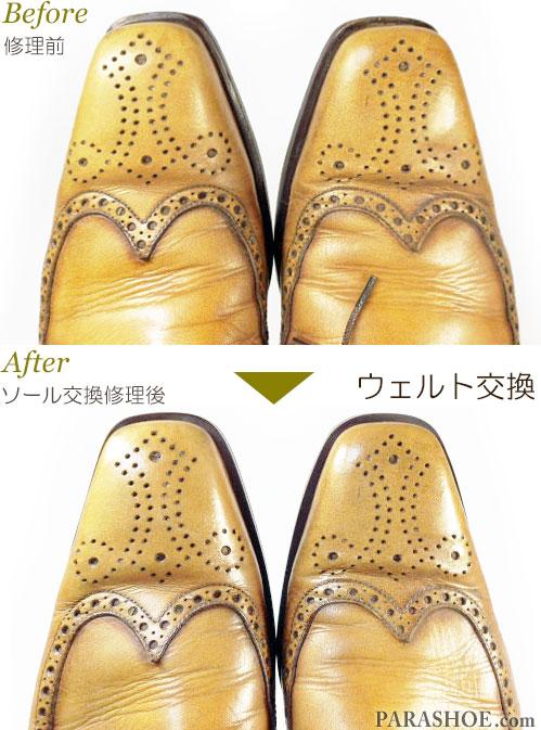 リーガル(REGAL)104R イタリア製 ウィングチップ ドレスシューズ(革靴・ビジネスシューズ・紳士靴)のオールソール交換修理(靴底張替え修繕リペア)/ビブラム(Vibram)2055(イートンソール・ダークブラウン)+革積み上げヒール-マッケイ製法 スクウェアトゥつま先のウェルト交換前と交換後