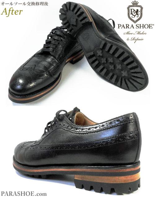 シップス(SHIPS)× ヒロシ ツボウチ(HIROSHI TSUBOUCHI)ウィングチップ ドレスシューズ(メンズ 革靴・ビジネスシューズ・紳士靴)のオールソール交換修理(靴底貼換え修繕リペア)/コマンドソール+レザーミッドソール+革積み上げヒール-グッドイヤーウェルト製法 修理後のソール底面とヒール(かかと)