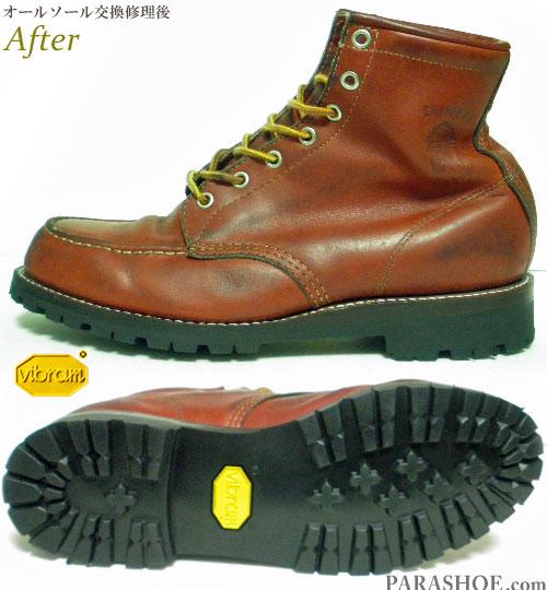 チペワ(CHIPPEWA)セッタータイプ ワークブーツ 茶色(メンズ 革靴・カジュアルシューズ・紳士靴)オールソール交換修理(靴底張替え修繕リペア)/ビブラム(vibram)1136(黒)-グッドイヤーウェルト製法 修理前と修理後