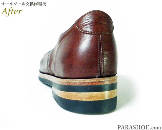 コズミックワンダーライトソース(Cosmic Wonder Light Source)プレーントゥ カジュアルシューズ 茶色(メンズ 革靴・紳士靴)オールソール交換修理(靴底張替え修繕リペア)/ビブラム(vibram)700(黒)+レザーミッドソール+革積み上げヒール-マッケイ製法 修理後のヒール革積み上げ部分