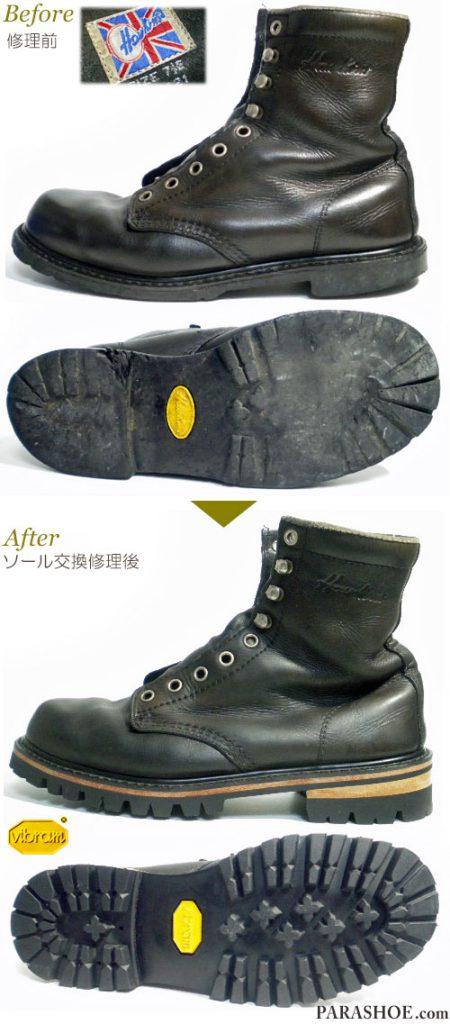 ホーキンス(Hawkins)ワークブーツ 黒(メンズ 革靴・カジュアルシューズ・紳士靴)オールソール交換修理(靴底張替え修繕リペア)/ビブラム(vibram)1100 黒+レザーミッドソール+革積み上げヒール-マッケイ製法 修理前と修理後