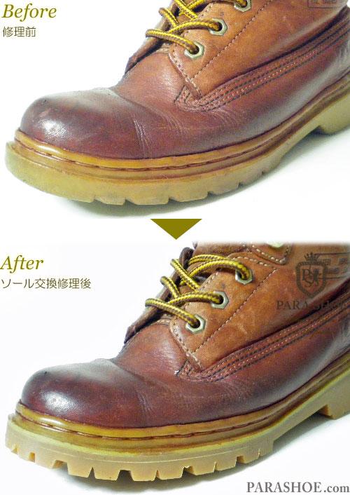 ジーティー ホーキンス(G.T. Hawkins)ワークブーツ 茶色(メンズ 革靴・カジュアルシューズ・紳士靴)オールソール交換修理(靴底張替え修繕リペア)/ビブラム(vibram)1136(アメ)-マッケイ製法 ウェルト部分の修理前と修理後