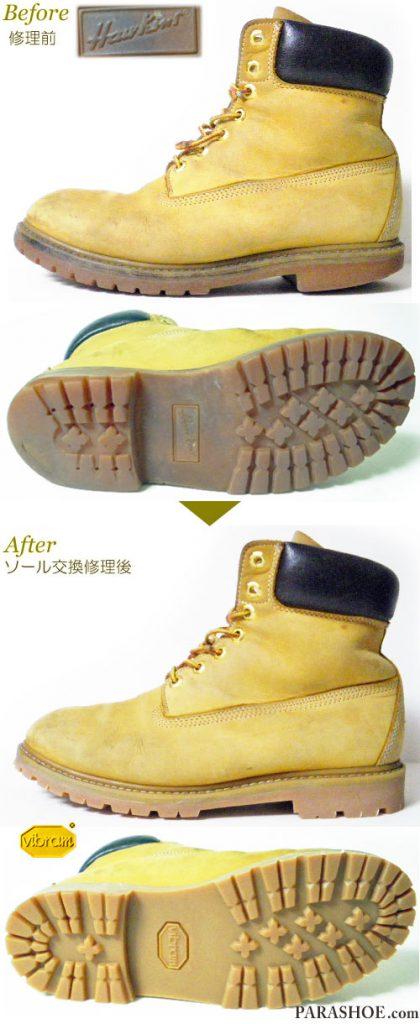 ホーキンス(Hawkins)イエローブーツ キャメルベロア(メンズ 革靴・カジュアルシューズ・紳士靴)オールソール交換修理(靴底張替え修繕リペア)/ビブラム(vibram)1136(アメ)-マッケイ製法 修理前と修理後
